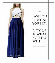 Contrast Embroidery High-neck Crop Top With Royal Blue Maxi Skirt !! #fashion…