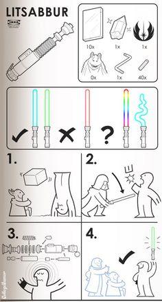 Istruzioni: come costruire una spada laser Ikea - Ikea instructions for a lightsaber