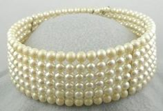 vintage faux pearl memory wire choker necklace $36.00