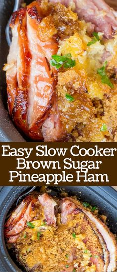 Slow Cooker Brown Sugar Pineapple Ham will make your Easter brunch a total breeze with just three ingredients and no oven space to lose! Keep it plugged in and it will stay warm through your entire meal.