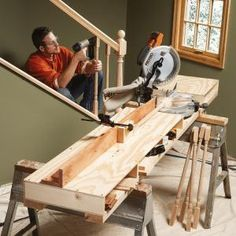 How to Build a Miter Saw Table. Miter saw stands are an essential, but expensive accessory for carpenters. Instead of buying one, save money and get a more versatile work table by building your own. Use these photos and free plan as a guide. Woodworking Jigs, Woodworking Projects, Carpentry, Welding Projects, Miter Saw Bench, Mitre Saw Station, Miter Saw Reviews, Garage Atelier, Home Projects