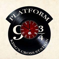 Harry Potter Platform 9 3/4 vinyl record home living room decor wall clock art