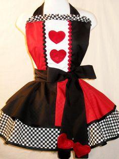 Alice in Wonderland Queen of Hearts Apron.