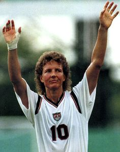 Michelle Akers for USA Womens Soccer. My favorite womens soccer player of all time!