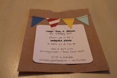 Handmade bunting birthday party invitations; bunting sewn on with sewing machine!