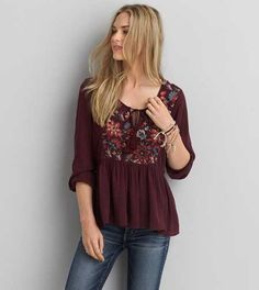 AEO Embroidered Peasant Top - Buy One Get One 50% Off