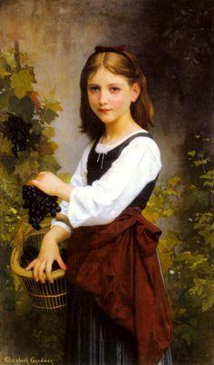 Elizabeth Jane Gardner Bouguereau - Young Girl Holding a Basket of Grape