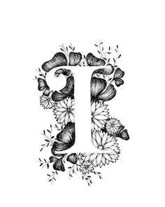 Art print van brief ik met florale achtergrond. Geweldig cadeau! Message me voor aanpassingen of in opdracht van de stukken. Zwart-wit inkt, meer letters van het alfabet binnenkort.