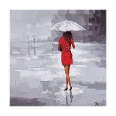 """Ren Wil OL805 Red Rain 40"""" Wide by 40"""" High Canvas Wall Décor Grey / ($196) ❤ liked on Polyvore featuring home, home decor, wall art, paintings, wall decor, wall street paintings, wall street art, canvas wall paintings, framed wall art and ren-wil"""