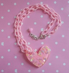 Pink Heart Necklace by PrettyPenguinParty on Etsy