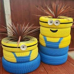 more ideas for using old tyres outdoors in the garden for minions
