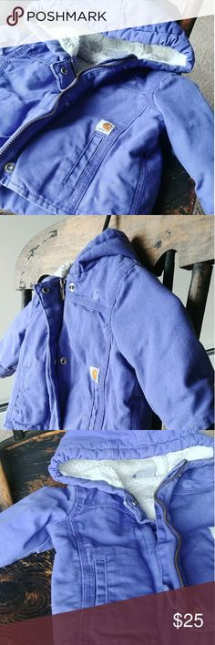 ADORABLE Purple Carhartt These coats just keep on giving ❤ Size: 6 months  Fleece lined 2 pockets with fleece inside Fleece lined hood Pristine worn/broken in like new condition Incredibly warm Periwinkle purple  Zipper/snaps in perfect working condition Stretchy wrist cuffs  Perfect X-mas gift  MUST HAVE! Carhartt Jackets & Coats