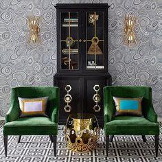 Love Jonathan Adler's green and gold combo #green ##velvet #gold #pattern #wallpaper #walllights #interiordesign #style #jonathanadler