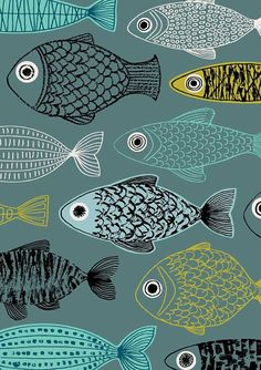 Blauer Fisch limitierte Auflage Giclee print von EloiseRenouf
