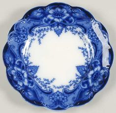 Johnson Brothers, Argyle-Blue Plate ~ one of the loveliest flow-blue patterns Flow Blue China, Blue And White China, Love Blue, Dark Blue, Blue Dishes, White Dishes, Blue Pottery, Blue Plates, White Plates