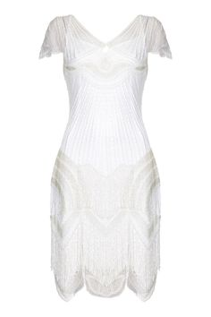 Cocktail Party Dress in White Flapper Style Dresses, Fringe Flapper Dress, 1920s Dress, Vintage Inspired Dresses, Cocktail Bridesmaid Dresses, Long Cocktail Dress, Dresses Art, Prom Dresses