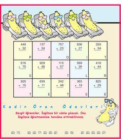 ilkokul ödevleri: 3. sınıf şifreli eldeli toplama