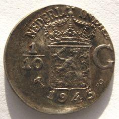 Nederlands-Indië 1/10 gulden 1945 P (misslag)