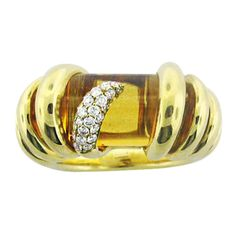 Gold de Grisogono Citrine Diamond Ring | From a unique collection of vintage more rings at http://www.1stdibs.com/jewelry/rings/more-rings/