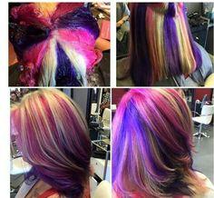 "Képtalálat a következőre: ""pinwheel hair color technique step by step"" Hair Color Pink, New Hair Colors, Blonde Color, Cool Hair Color, Purple Hair, Ombre Hair, Pink Purple, Blonde Hair, Underlights Hair"