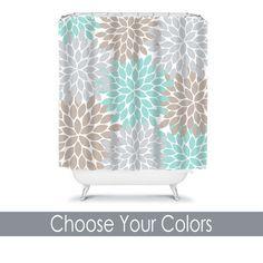 Monogram Shower Curtain Custom Personalized TRM Design turq-gray1