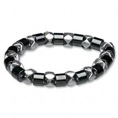 Magnetic Hematite Healing Black Silver Stretch Bracelet
