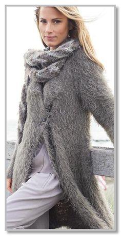 Вязание спицами. Длинное мохеровое пальто-реглан и палантин. Размеры: 36/38 (40/42)