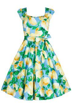 Classic 1950 s Swing Dress - Lemon Print d699067028