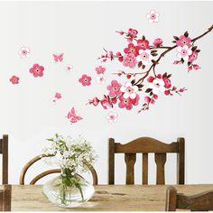 wholesale beautiful sakura wall stickers living bedroom decorations 739. diy flowers pvc home decals mural arts poster 3.5