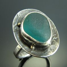 English Multi Sea Glass Sterling Silver Ring