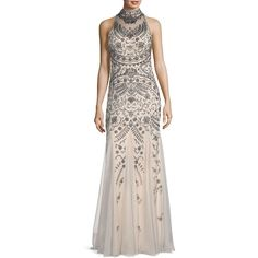 Aidan Mattox Embellished Sleeveless Gown (50490 ALL) ❤ liked on Polyvore featuring dresses, gowns, gown, sleeveless dress, pink evening dress, pink sleeveless dress, embellished gown and aidan mattox gown