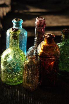 Colored, Vintage Glass Bottles