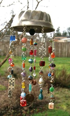 A Funky Mobile | by Flickr Artist Heather - old jello old, beads, dominoes, more