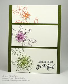 "Grateful Bunch Su, panels: top to bottom: 3-3/4"" x 1-1/2"", 3-3/4"" x 1-3/4"", 3-3/4"" x 2"", flower layout,  DOstampingwithDawn"