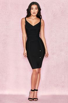 99febbeada13 HOUSE OF CB  Belice  Black Tie Waist Bandage Dress XS 6   8 SG