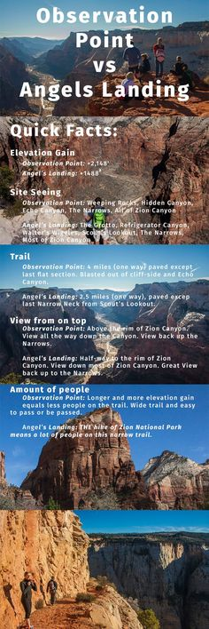 Quick facts comparing Observation Point vs Angels Landing (Zion National Park, UT)