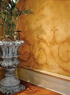 i love this faux wall paint with stencil finish
