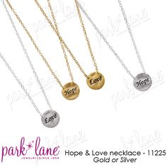 "Park Lane reversable ""Hope & Love"" necklace - in gold, my newest piece.  apowe656@aol.com  Arleen Whiteheart, Fashion Director"