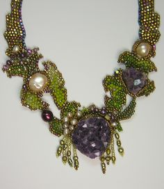 Freeform beadwoven necklace with rough amethyst crystals and pearls by Amolia Willowsong.