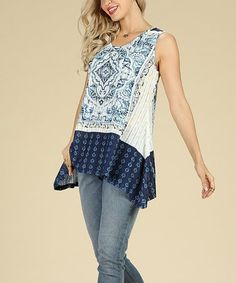 Another great find on #zulily! Navy & White Geometric Sleeveless Sidetail Tunic - Women & Plus #zulilyfinds