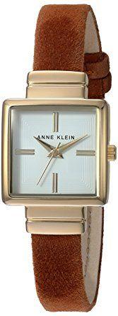 Anne Klein AK2680WTRU Reloj para Mujer Cuadrado, Análogo, color Blanco y Rojo