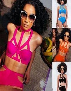 79d6fe61d0 Moda Sexy Push up Triangl traje De baño Bikini Halter Underwire Swimsuit  Maillot De Bain ropa mujer