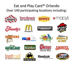 discounts of 10 – 50% off your TOTAL PURCHASE for 1 to 4 people at over 140 of Orlando's most popular venues, including TGI Friday's, Denny's, Friendly's, Jimmy Buffet's Margaritaville, Tony Roma's, McDonald's, Pizza Hut, Ponderosa, Houlihan's, Buffalo Wild Wings, Fuddruckers, WonderWorks, Gatorland, Macy's, Neiman Marcus Last Call and many more. I