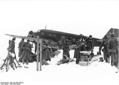 German Luftwaffe Ju 52 transport aircraft bringing supplies to the German 16th Army in the Demyansk Pocket, Russia, circa Jan-Feb 1942