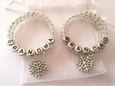 Personalised Christmas napkin rings set of 2 by WillowCraftsx