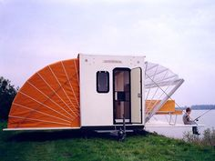Created by Dutch designer Eduard Bohtlingk, the Markies trailer expands to nearly three times its original size, offering an amazing outdoor camping experience with adjustable awnings that allow travelers to sleep under the stars, if they so desire.