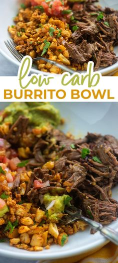 Loads of ideas for making the perfect keto burrito bowl with lists of bases, proteins, and toppings! Plus the recipe for my favorite version! #keto #lowcarb #burrito