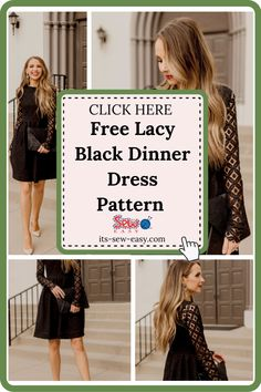 One of the best ways to spice up your wardrobe is with a little black dinner dress. It's the perfect way to step out looking stunning without spending too much time dressing up. This exquisite lace little DIY black dress will make you the centre of attraction wherever you go. The pattern includes a step by step tutorial that walks you through the process of making the dress in simple and easy to understand instructions. #dresspatterns#freedresspatterns#dresssewingpatterns#freesewingpatterns Formal Dress Patterns, Unique Formal Dresses, Dress Sewing Patterns, Sewing Patterns Free, Free Sewing, Lining Fabric, Lace Fabric, Black Dinner Dress, Chic Dress