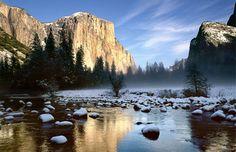 Merced River & El Capitan in winter, Yosemite National Park, Calif. (© nagelestock.com/Alamy)