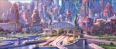 Walt Disney Animation Studios has debuted a new Zootopia clip featuring Judy Hopps arriving in the title city. Zootopia Movie, Fantasy Art Landscapes, Fantasy Artwork, Disney Love, Disney Art, Anime City, Futuristic City, Game Concept Art, Paisajes